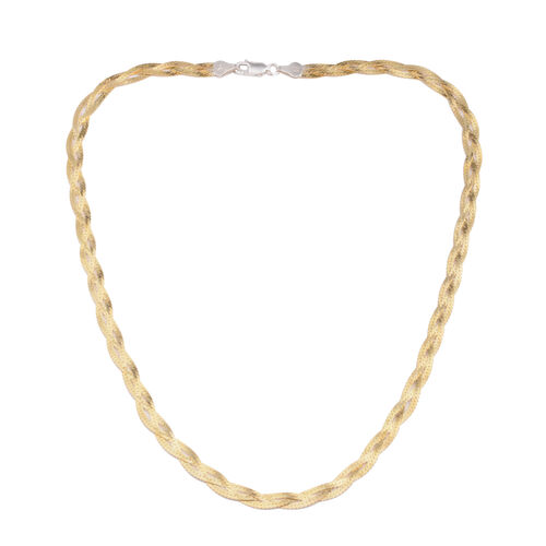 Vicenza Collection 14K Gold Overlay Sterling Silver Braided Herringbone Chain (Size 18), Silver wt 10.10 Gms.