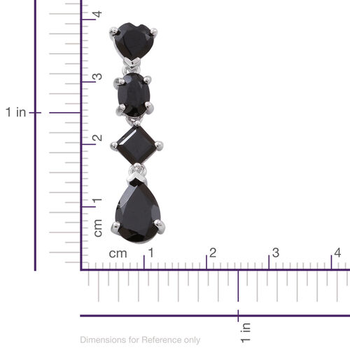 Boi Ploi Black Spinel (Pear) Earrings (with Push Back) in Rhodium Plated Sterling Silver 8.500 Ct.