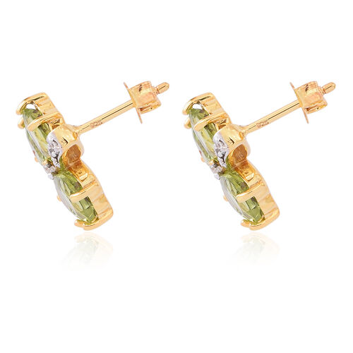 Limited Edition-Hebei Peridot (Hrt), Natural White Zircon Floral Stud Earrings (with Push Back) in 14K Gold Overlay Sterling Silver 6.500 Ct.
