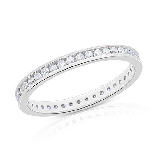 9K White Gold SGL Certified 0.50 Carat Diamond Round (I3/G-H) Full Eternity Wedding Band Ring.