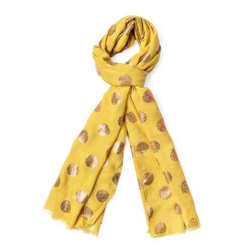 Golden Polka Dots Pattern Yellow Colour Scarf with Fringes (Size 180X70 Cm)
