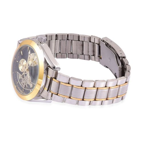 GENOA Automatic Skeleton Black Colour Dial Water Resistant Watch in Yellow Gold and Silver Tone With Chain Strap