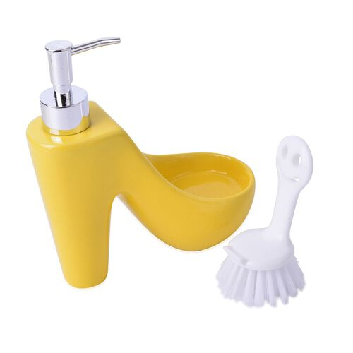 Yellow Colour High Heel Shape Ceramic Lotion Dispenser With White Brush (Size 20x15 Cm)