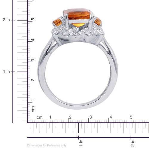 Madeira Citrine (Oct 2.00 Ct), Diamond Ring in Platinum Overlay Sterling Silver 2.280 Ct.