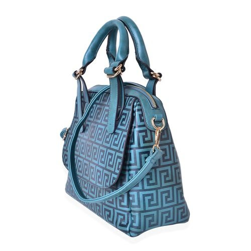 Greek Key Pattern Forest Green Top Handle Bag with External Zipper Pocket and Adjustable and Removable Shoulder Strap (Size 28X26X10.5 Cm)