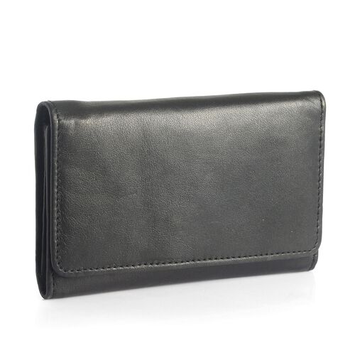 Genuine Leather RFID Blocker Black Colour Ladies Purse(15.5x8.5 Cm)