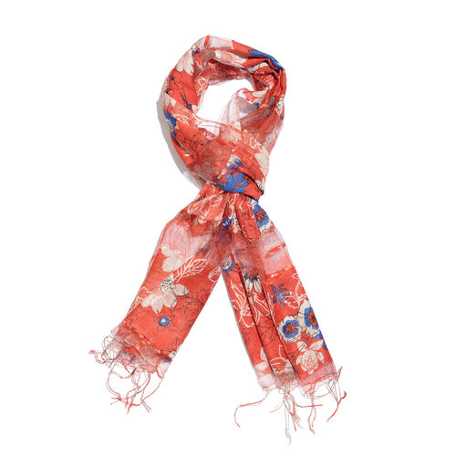 65% Silk Blue, Red and Multi Colour Artistic Floral Pattern Scarf with Fringes (Size 180x50 Cm)