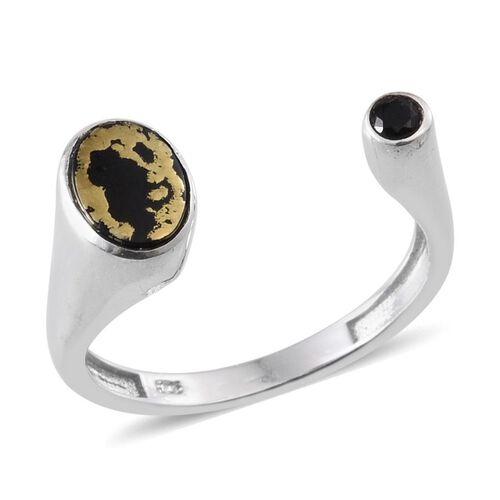 Goldenite (Ovl 0.85 Ct), Boi Ploi Black Spinel Ring in Platinum Overlay Sterling Silver 1.000 Ct.