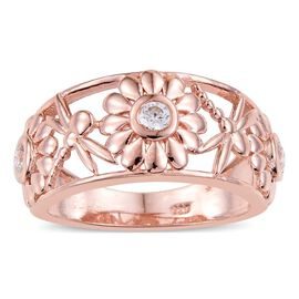 J Francis - Rose Gold Overlay Sterling Silver (Rnd) Floral Ring Made with SWAROVSKI ZIRCONIA