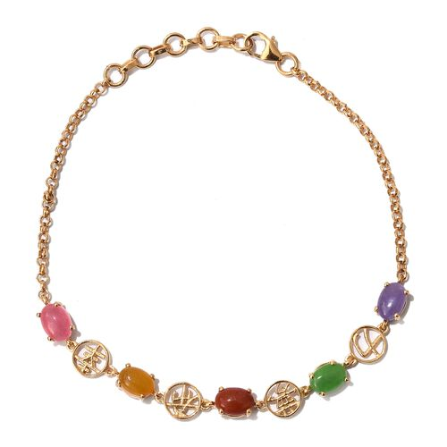 Designer Inspired-Yellow Jade, Green Jade, Red Jade, Pink Jade and Purple Jade Bracelet (Size 7.5 with 1 inch Extender) in 14K Gold Overlay Sterling Silver 5.000 Ct.