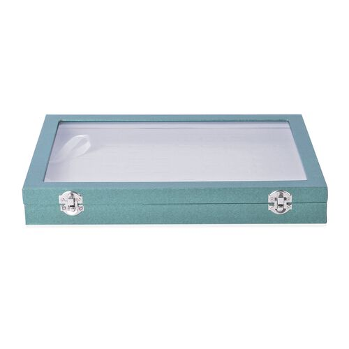 Shiny Green Colour 100 Slot Ring Box with Transparent Top and Velvet Inside (Size 35X24X4.6 Cm)