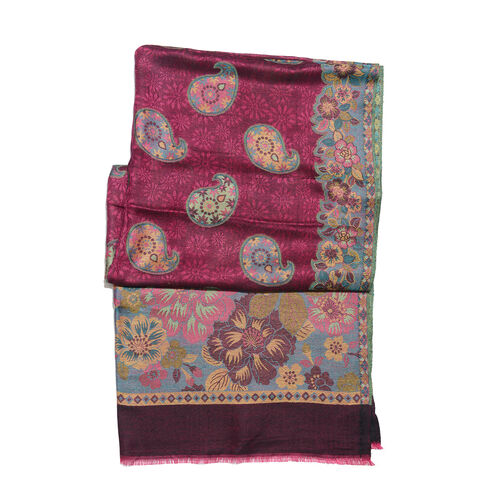 Burgundy, Blue and Multi Colour Floral and Paisley Pattern Jacquard Scarf with Fringes (Size 190X70 Cm)