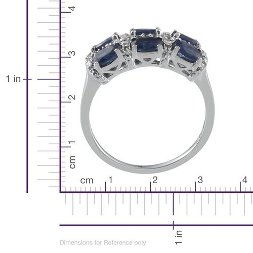 Kanchanaburi Blue Sapphire (Ovl), White Topaz Ring in Platinum Overlay Sterling Silver 2.000 Ct.