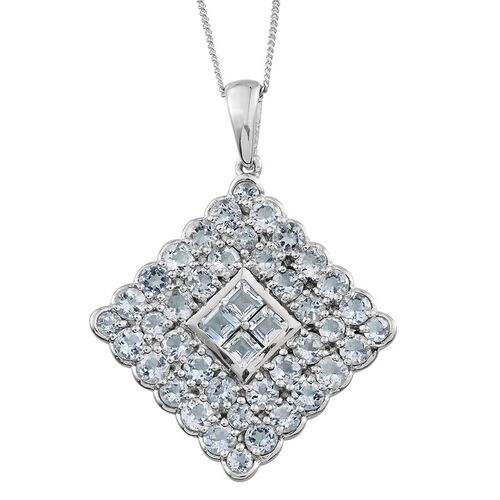 Espirito Santo Aquamarine (Sqr) Cluster Pendant With Chain in  Platinum Overlay Sterling Silver 4.750 Ct.