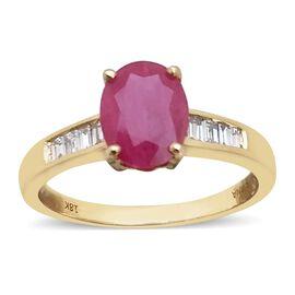 ILIANA 18K Y Gold AAAA Burmese Ruby (Ovl 2.00 Ct), Diamond (SI/ G-H) Ring 2.250 Ct. Gold Weight 4.30 Gms.