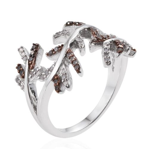 Diamond (Rnd), Natural Champagne Diamond Ring in Platinum Overlay Sterling Silver 0.250 Ct.