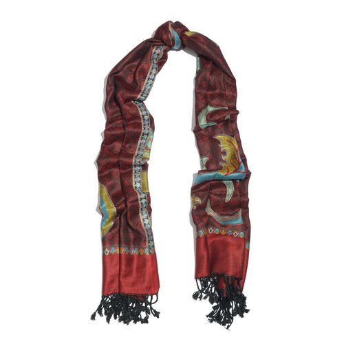 Red, Black and Multi Colour Scarf with Fringes at the Bottom (Size 180x70 Cm)
