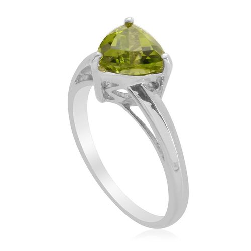 Hebei Peridot (Trl) Solitaire Ring in Platinum Overlay Sterling Silver  1.900 Ct.