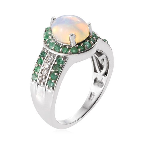 Ethiopian Welo Opal (Pear 1.10 Ct), Brazilian Emerald and Natural Cambodian Zircon Ring in Platinum Overlay Sterling Silver 1.750 Ct.