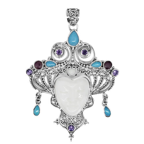 Princess Bali Collection OX Bone Carved Face (Ovl 7.50 Ct), Sleeping Beauty Mojave Turquoise, Ruby and Amethyst Pendant in Sterling Silver 10.330 Ct. Silver wt 5.70 Gms.