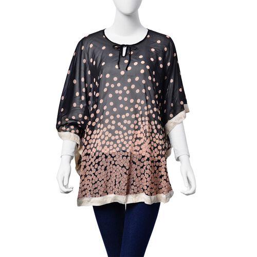 Pink Dots Pattern Black Colour Poncho (Free Size)