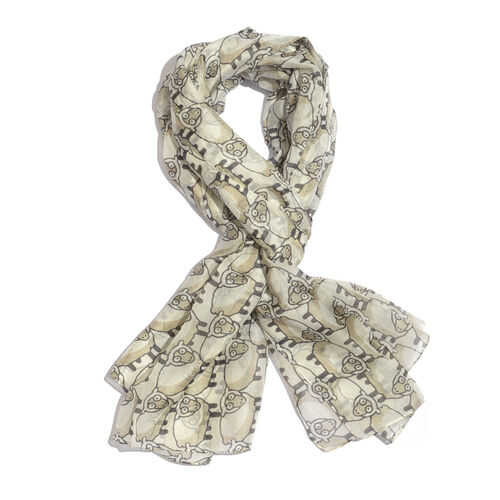 100% Mulberry Silk Cream and Black Colour Sheep Pattern Scarf (Size 180x100 Cm)