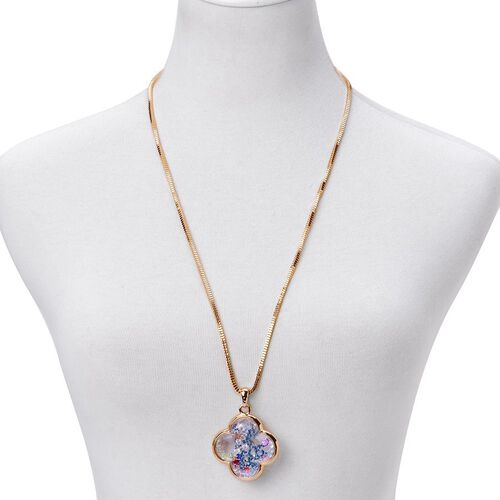 Gold Tone Pendant With Chain with Multi Colour Crystal and Green Flower Inside