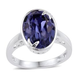 J Francis Crystal from Swarovski - Tanzanite Colour Crystal (Ovl) Solitaire Ring in Sterling Silver