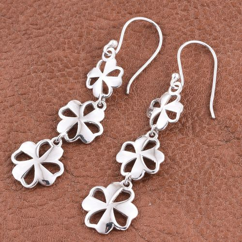 Rhodium Plated Sterling Silver Floral Hook Earrings, Silver wt. 4.72 Gms.