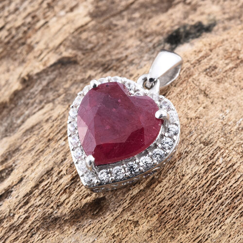 African Ruby, Natural Cambodian Zircon 5.25 Ct Silver Pendant in Platinum Overlay