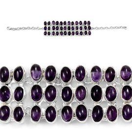 Designer Inspired  Amethyst (Ovl) Bracelet in Sterling Silver (Size 7.5) 36.000 Ct.16 Gms Silver