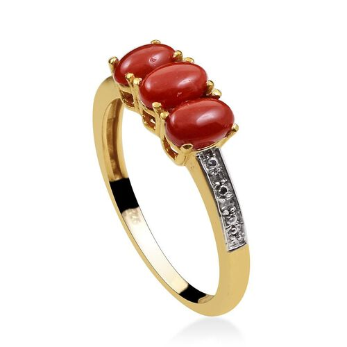Mediterranean Coral (Ovl), Diamond Ring in 14K Gold Overlay Sterling Silver 1.170 Ct.