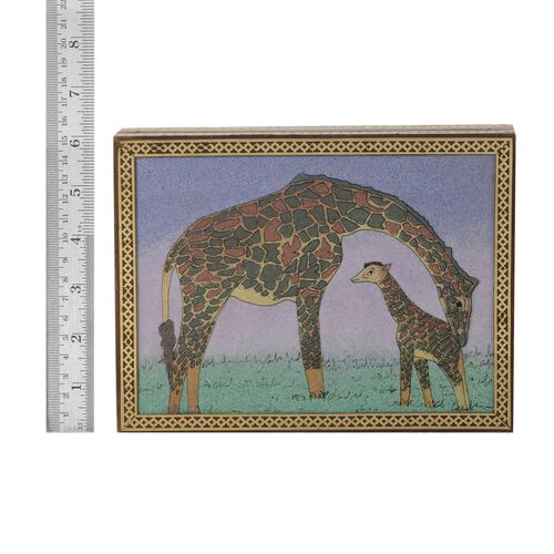 Handcrafted Giraffe Wooden Gemstone Box (Size 21x16x5 Cm)