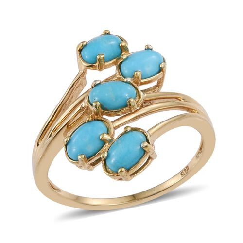 Arizona Turquoise (Ovl) 5 Stone Crossover Ring in 14K Gold Overlay Sterling Silver 1.750 Ct.