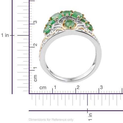 Kagem Zambian Emerald (Pear) Ring in Platinum and Yellow Gold Overlay Sterling Silver 1.750 Ct.