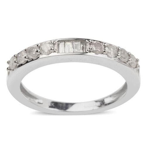 9K White Gold SGL Certified Diamond (Rnd) (I3/G-H) Half Eternity Ring 0.500 Ct.