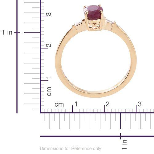 ILIANA 18K Yellow Gold Pigeon Blood 1.00 Ct AAAA Burmese Ruby Ring with Side Diamond SI G-H