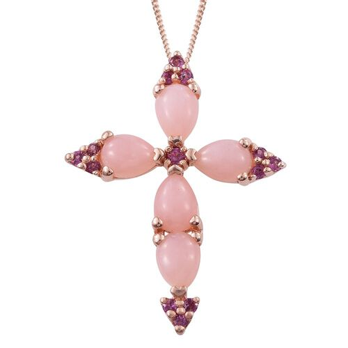 Natural Peruvian Pink Opal (Pear), Rhodolite Garnet Cross Pendant With Chain in Rose Gold Overlay Sterling Silver 3.500 Ct.