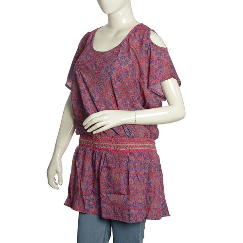 Rose Pink and Purple Colour Paisley Pattern Cutout Shoulder Dress (Free Size)
