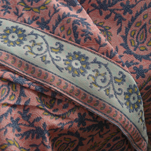 Pink, Navy and Multi Colour Paisley and Leaves Pattern Long Kaftan (Fee Size)