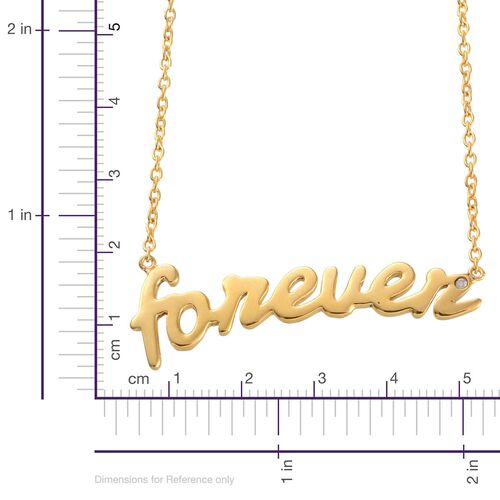 Diamond (Rnd) Forever Message Necklace (Size 18) in Yellow Gold Overlay Sterling Silver