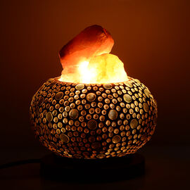 Home Decor - Handcrafted Mosaic Electric Lamp with Natural Himalayan Rock Salt (1.6Kg) - Golden