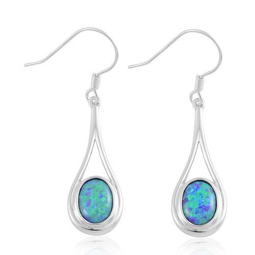 Simulated Green Opal Hook Earrings in Sterling Silver