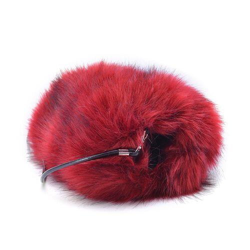 Faux Fur Red Colour Handbag (Size 27x20 Cm)