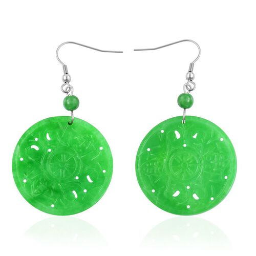 Green Jade Hook Earrings in Hypoallergenic Stainless Steel 57.500 Ct.