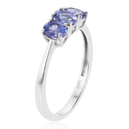 Tanzanite 1 Carat Silver Trilogy Ring in Platinum Overlay