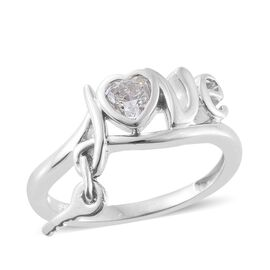 J Francis - Platinum Overlay Sterling Silver (Hrt) Love Inspired Ring Made with SWAROVSKI ZIRCONIA