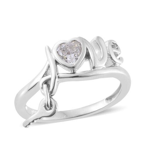 J Francis - Platinum Overlay Sterling Silver (Hrt) Love Inspired Ring Made with SWAROVSKI ZIRCONIA