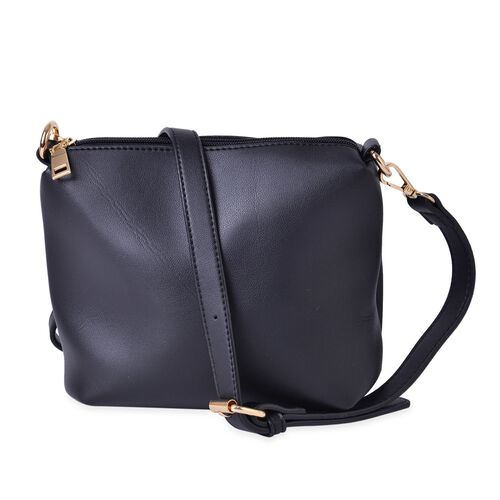 Set of 2 - Black Colour Large Handbag (Size 25X23X19.5 Cm) and Small Handbag (Size 19.5X17X9.5 Cm) with Adjustable and Removable Shoulder Strap