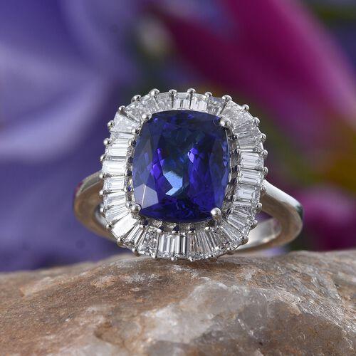 RHAPSODY 950 Platinum AAAA Tanzanite (Cush 4.40 Ct), Diamond Ring 5.658 Ct.